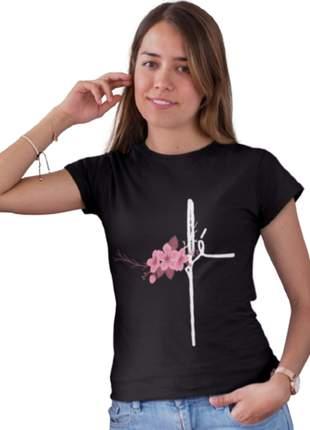Camiseta baby look fé flor personalizada moda evangélica
