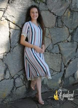 Vestido listrado com renda bordada roupas evangelicas