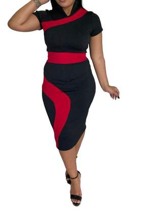 Vestido moda evangélica midi tubinho ref 624