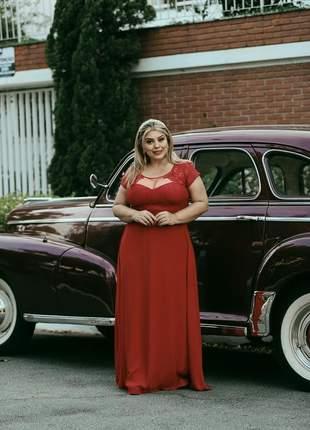 Vestido plus size longo rose marsala manguinha madrinhas senhoras casamento g1 g2