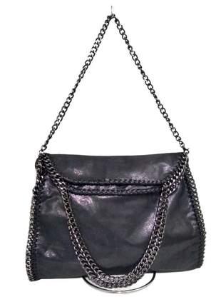 Bolsa feminina estilo stella couro camurça alça extra