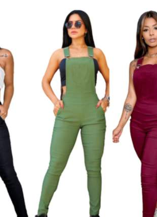 Macacão jardineira suspensório moda feminina blogueirinha