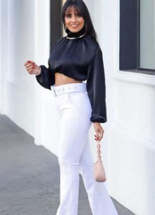 Calça com cinto feminina skinny jacquard moda luxo fivela