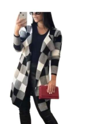 Kimono xadrez feminino blusa cardigan tricot inverno