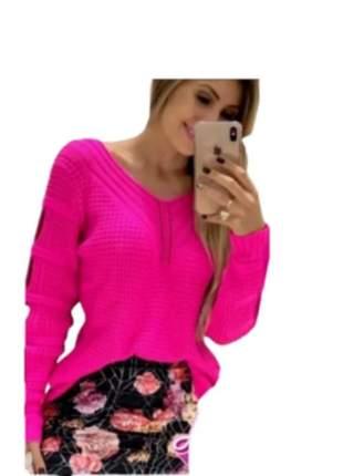 Blusa trico feminina com corrente nas costas blogueira