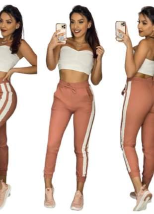 Calca jogger com listra laterais tecido bengaline moda instagram