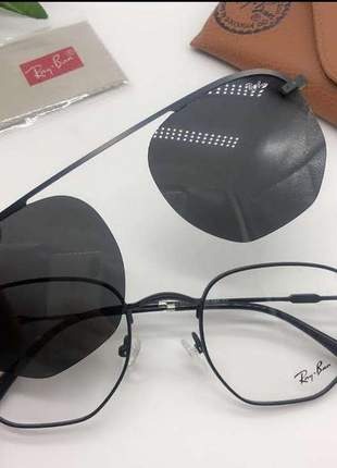 Óculos ray ban clip on hexagonal 2 em 1 solar + armação para gráu unissex 2 cores