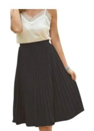 Saia plissada moda lançamento feminino creppe barato