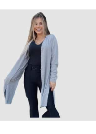 Cardigãn manga longa abertura lateral moda blogueira