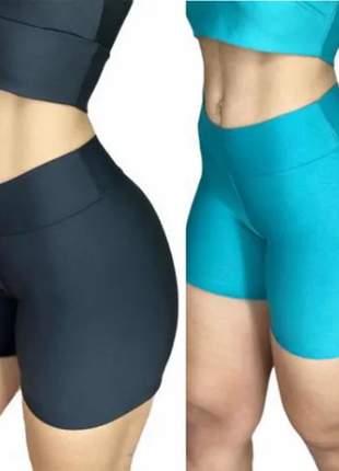 2 shorts de suplex curto liso academia promoção fitness dia