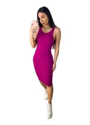 Kit com 3 vestido feminino colado midi canelado inovar