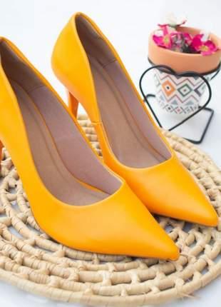 Scarpin feminino confort napa laranja