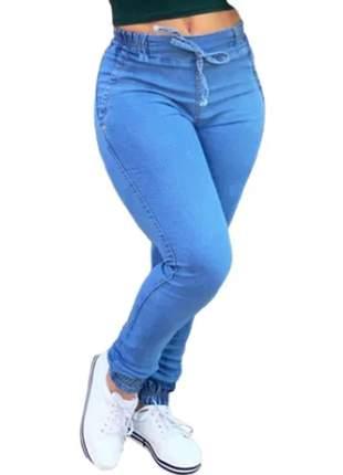 Calça jeans feminina,jogger ,cintura alta,lycra,lançamento