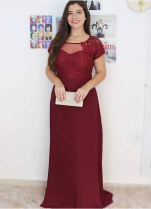 Vestido de festa plus size longo rosê marsala madrinha de casamento formatura senhoras