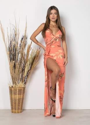 Vestido longo feminino modelo envelope