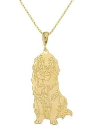 Corrente com pingente pet golden retriever banhado a ouro