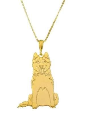 Corrente com pingente husky siberiano banhado a ouro