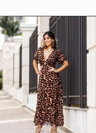 Vestido midi  animal print (marrom c/preto