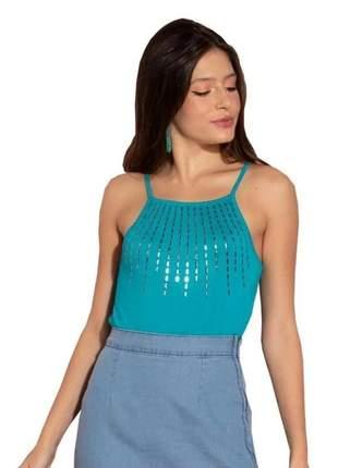 Blusa feminina alça azul turquesa quintess