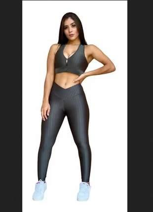 Kit top e legging cirre 3d fitness caminhada cintura alta