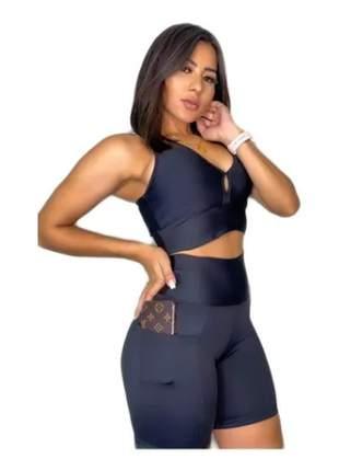 Kit com 2 conjunto shorts c/bolso + top c/bojo fitness leia o anúncio