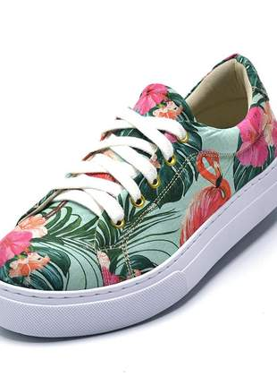 Tênis casual feminino estampa flamingo color