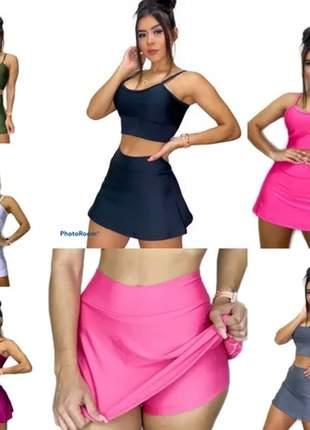 Kit com 4 saia shorts fitness roupa feminina academia suplex
