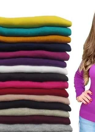 Kit com 3 blusa cacharrel feminina lã trico tricot gola alta