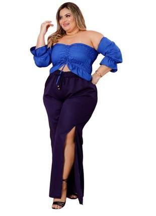 Calça pantalona plus size dolce sedutti fenda azul
