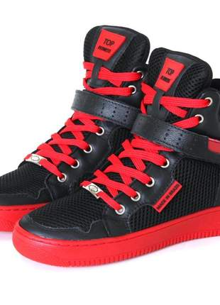 Tênis botinha sneaker cano alto crossfit musculação treino couro