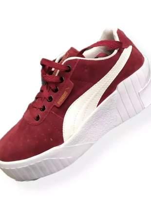 Tênis feminino puma kali para o dia a dia, cor vermelho, tamanhos 34 ao 39