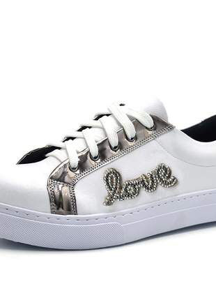 Tênis feminino casual love branco