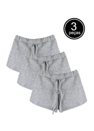 Kit 3 shorts canelado part.b feminino