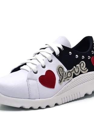Tênis feminino casual love branco e preto