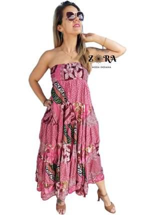 Vestido tomara que caia com lastex 2 em 1 vestido/ saia seda indiano