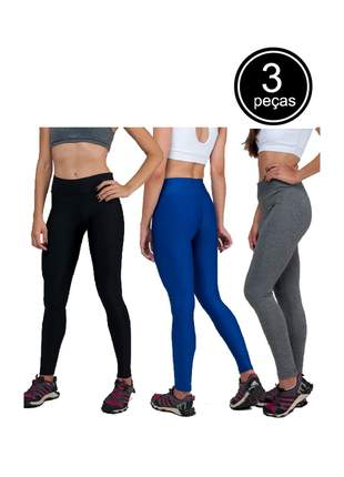Kit com 3 calças legging básica suplex