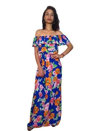Vestido ombro a ombro longo estampado flores