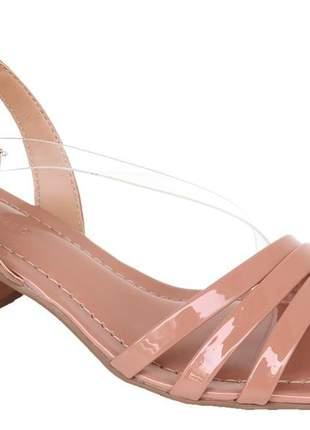 Sandália feminina salto bloco nude verniz renata mello 805469074