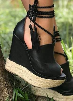 Sandálias femininas anabela courino