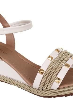 Sandália anabela confortável feminina off white renata mello 805869811