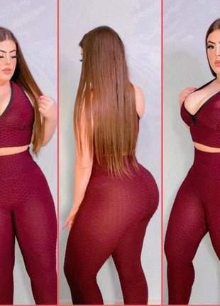 Calça legging feminina cintura alta bolha fitness academia