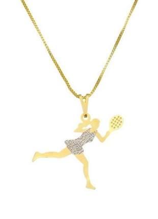 Gargantilha com pingente tenista fitness banhado a ouro