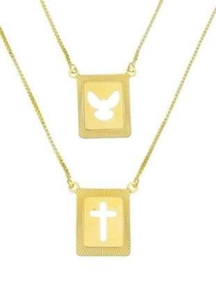 Escapulário com pingente cruz e espirito santo masculino