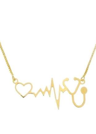 Gargantilha coração, batimento estetoscópio banho de ouro