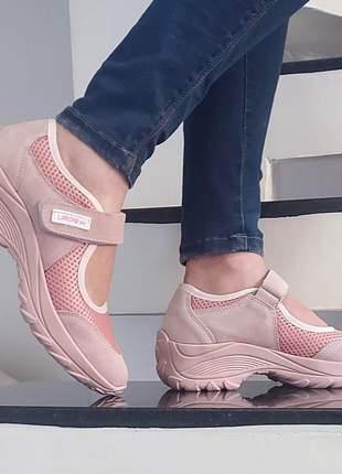 Tênis sapatilha boneca lirom confortável antistress todo rosê