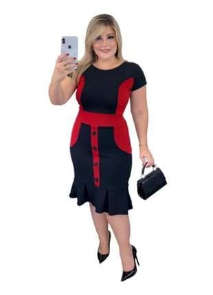 Vestido midi roupas femininas moda evangelica bicolor botão