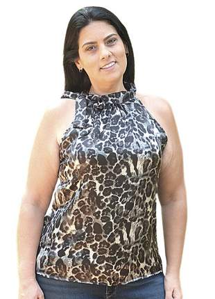 Blusa cetim laço moda evangélica animal print