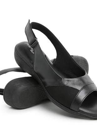 Sandália confort couro feminina ortopédica para descanso dos pés!