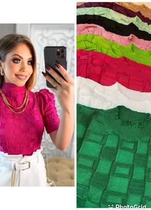 Blusa cropped feminino  tricô fio raiom manga curta bufante menina