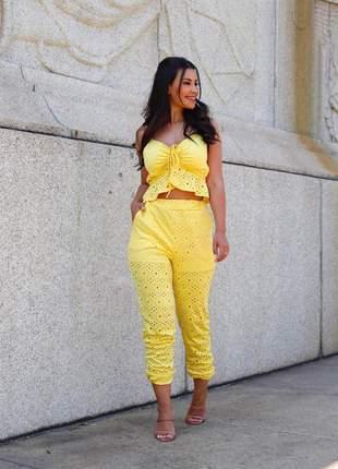 Conjunto de calça e blusa de malha laisse
